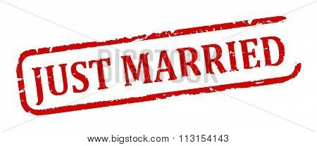 Damaged Oval Stamp With The Words - Just Married - Illustration
