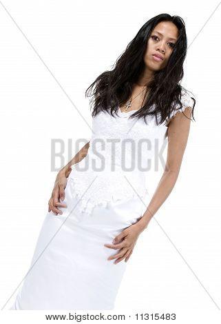 Brunette In White Wedding Dress