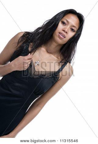 Brunette In Black Evening Dress