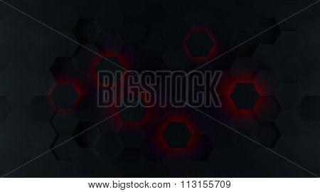 Dark Red Glowing Hexagon Background