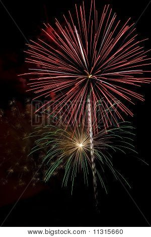 Red And Green Firework Bursts