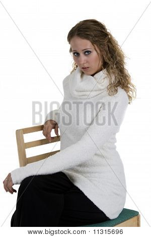 Young Blond Woman Over White Background