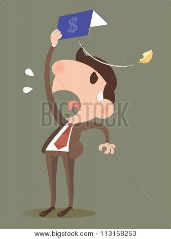 Businessman Losing Money From A Bankbook