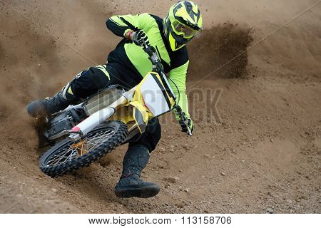 Motocross bike in a race