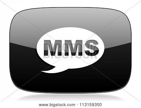 mms black glossy web modern icon