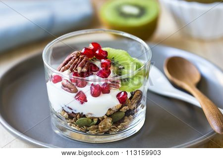 Granola With Greek Yogurt ,kiwi And Pomegranate