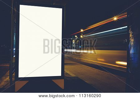 Illuminated empty billboard with copy space for your text message or content, Empty Lightbox