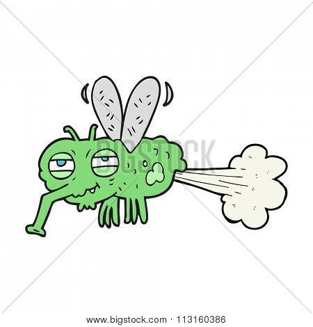 freehand drawn cartoon gross farting fly