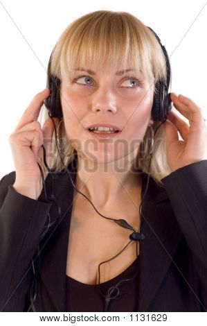Customer - Young Blondie Woman Like Customer Operater With Headp