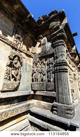 Artistic deities statue on the walls of Chennakesava temple, Belur captured on December 30th, 2015