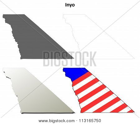 Inyo County, California outline map set