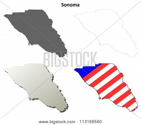 Sonoma County, California outline map set