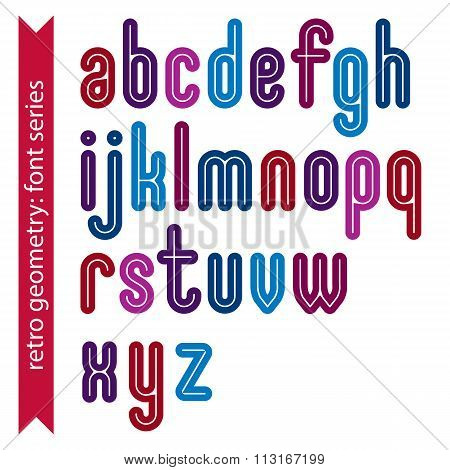 Multicolored Striped Distinct Font, Geometric Bold Bright Typeface. Colorful Calligraphic