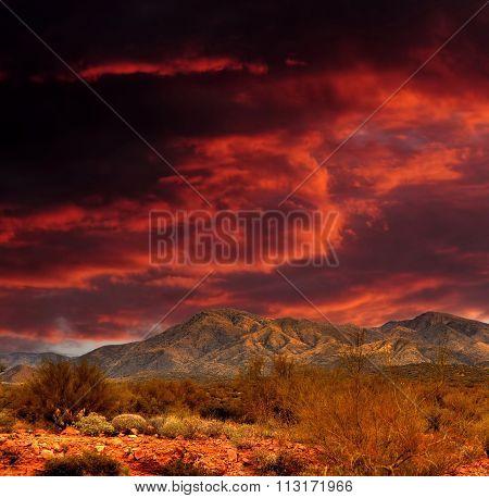 Red Skies Sonora Desert Mountains