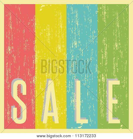 Sale Poster Background Old Shabby Paper, Vintage Promotion Banner, Mockup Grunge Advertising Flyer
