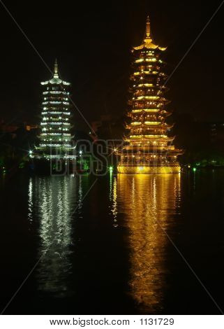 The Twin Pagoda In Guiling City
