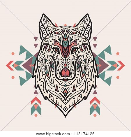 Vector Colorful Illustration Of Tribal Style Wolf With Ethnic Ornaments. American Indian Motifs.