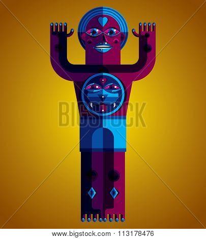 Modernistic Vector Illustration, Geometric Cubism Style Avatar Isolated On Art Background. Strange C