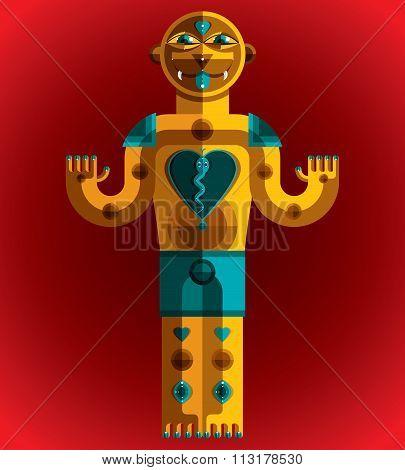 Cubism Theme Vector Graphic Illustration, Modernistic Symbol. Geometric Cartoon Character, Mythic Cr