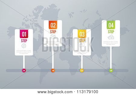 Four steps infographics - can illustrate a strategy, workflow or team work.