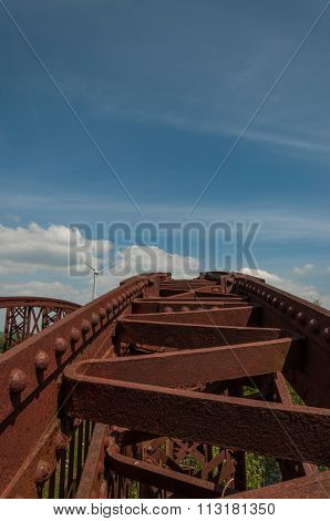 Rusty bridge and blue sky
