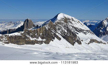 Mt Brun, View From The Glacier De Diablerets Ski Area