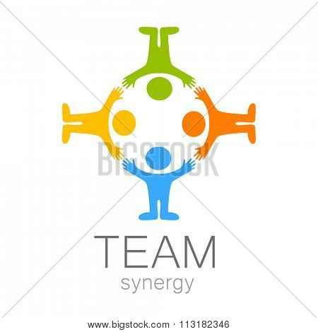 Team sign - vector template. Idea for  logo,  sports logo,  team icon,  group logo,  sports team logo,  people logo.