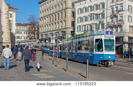 Blue Tram In Zurich