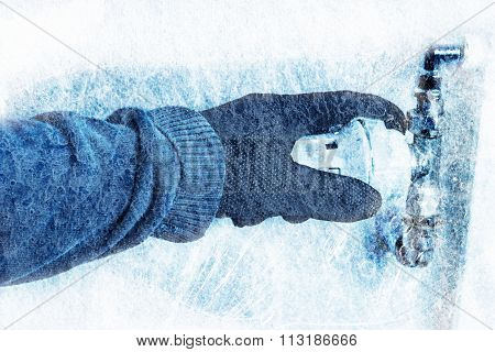 Hand With Glove Turn The Heating Controller Down To Save Costs With Blue Ice Texture