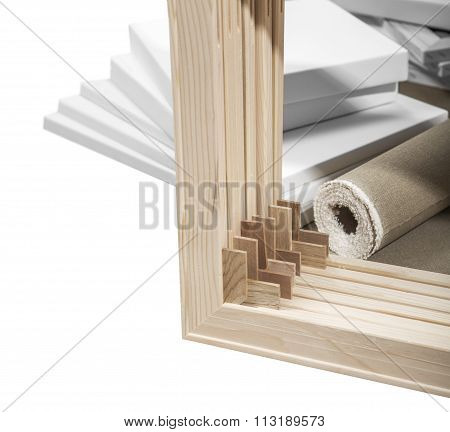 Gallery Wrap Stretcher Bar Frames With Low Riser Isolated On White With Clipping Path