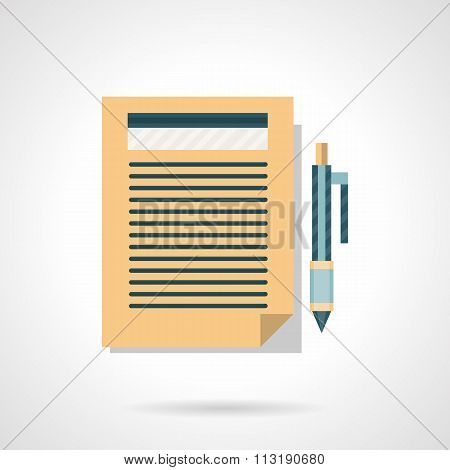 Flat color vector icon for writing article
