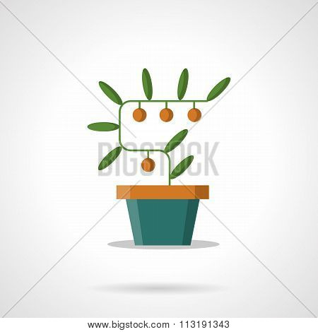 Money tree with coins flat color vector icon