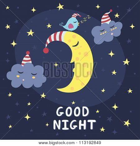 Good night card with the cute sleeping moon, clouds and a bird