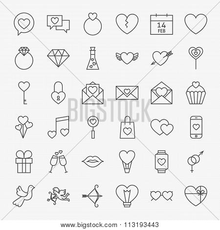Valentine Day Line Icons Big Set