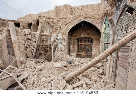 Broken Buildings Of The Old Persian Bazaar In Iran.