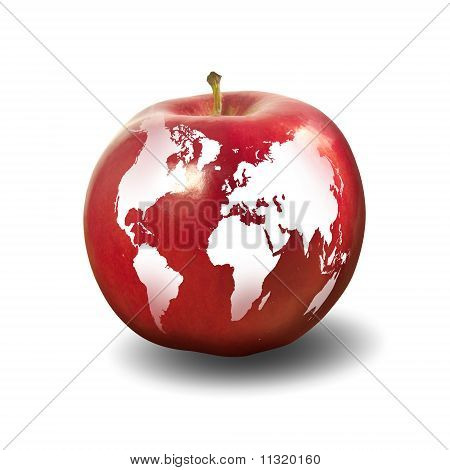 The image of the Earth caused by apple. Symbol of environmental protection. poster