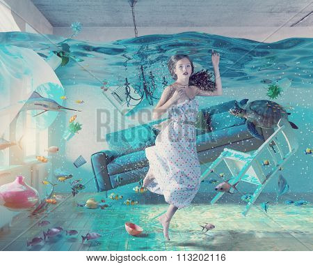an underwater view in the flooding interior and young woman .Photo combination concept