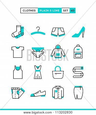Clothing. Plain And Line Icons Set, Flat Design