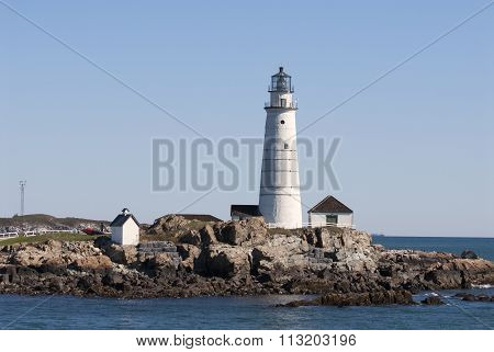 Historic Boston Harbor Lighthouse On A Summer Day