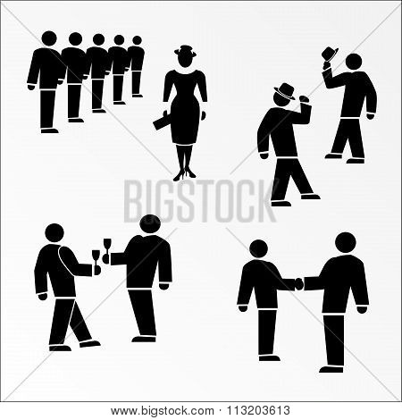 Office icon set. Meeting, succes deal symbol. Black silhouette on white background. Vector illustrat