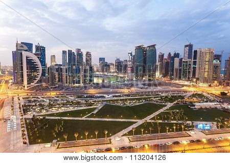 Doha Downtown At Dusk