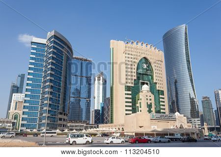 Modern Buildings In Doha Downtown, Qatar