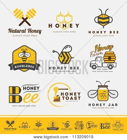 Set Of Honey Bee Logo And Labels For Honey Products