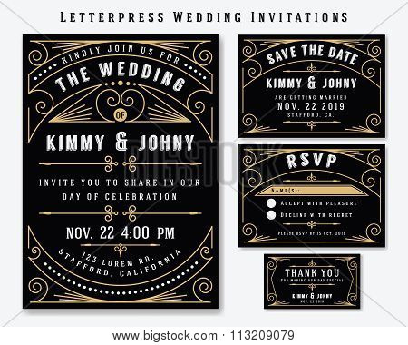 Letterpress Wedding Invitation Design Template