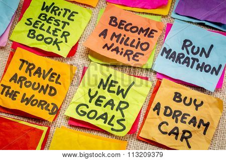 become a millionaire and unrealistic new year goals or resolutions - colorful sticky notes on canvas