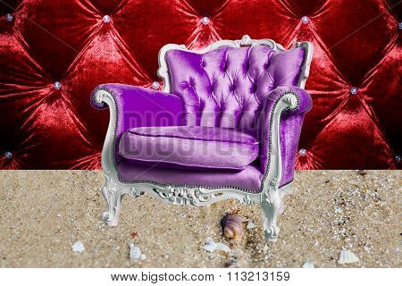 Violet  Armchair Is  On The Sand And The Red Velour Background