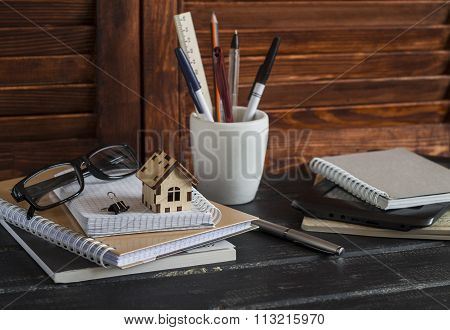 Workplace Designer And Architect With Business Objects - Books, Notebooks, Pens, Pencils, Rulers, Ta
