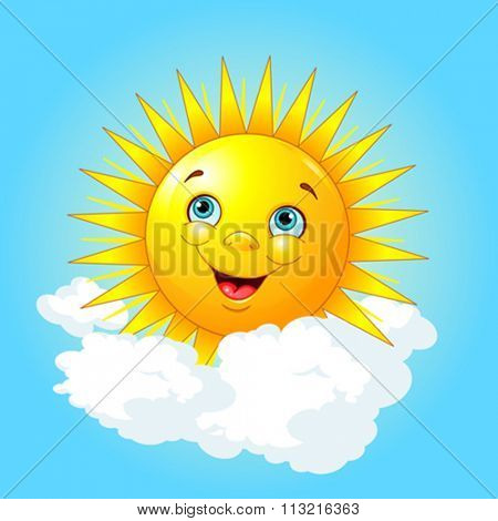 Illustration of smiling sun on the cloud