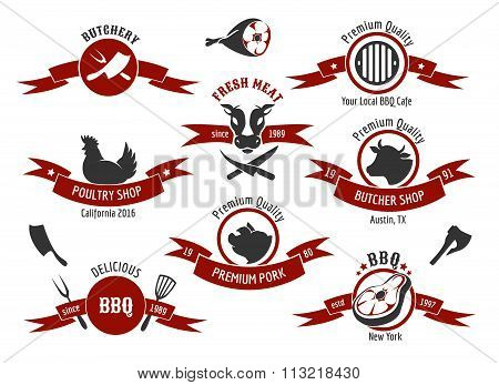 Meat store, charcuterie, deli shop, butchery market vector badge, label, logo set