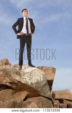 Businessman looking to the sky. Business concept